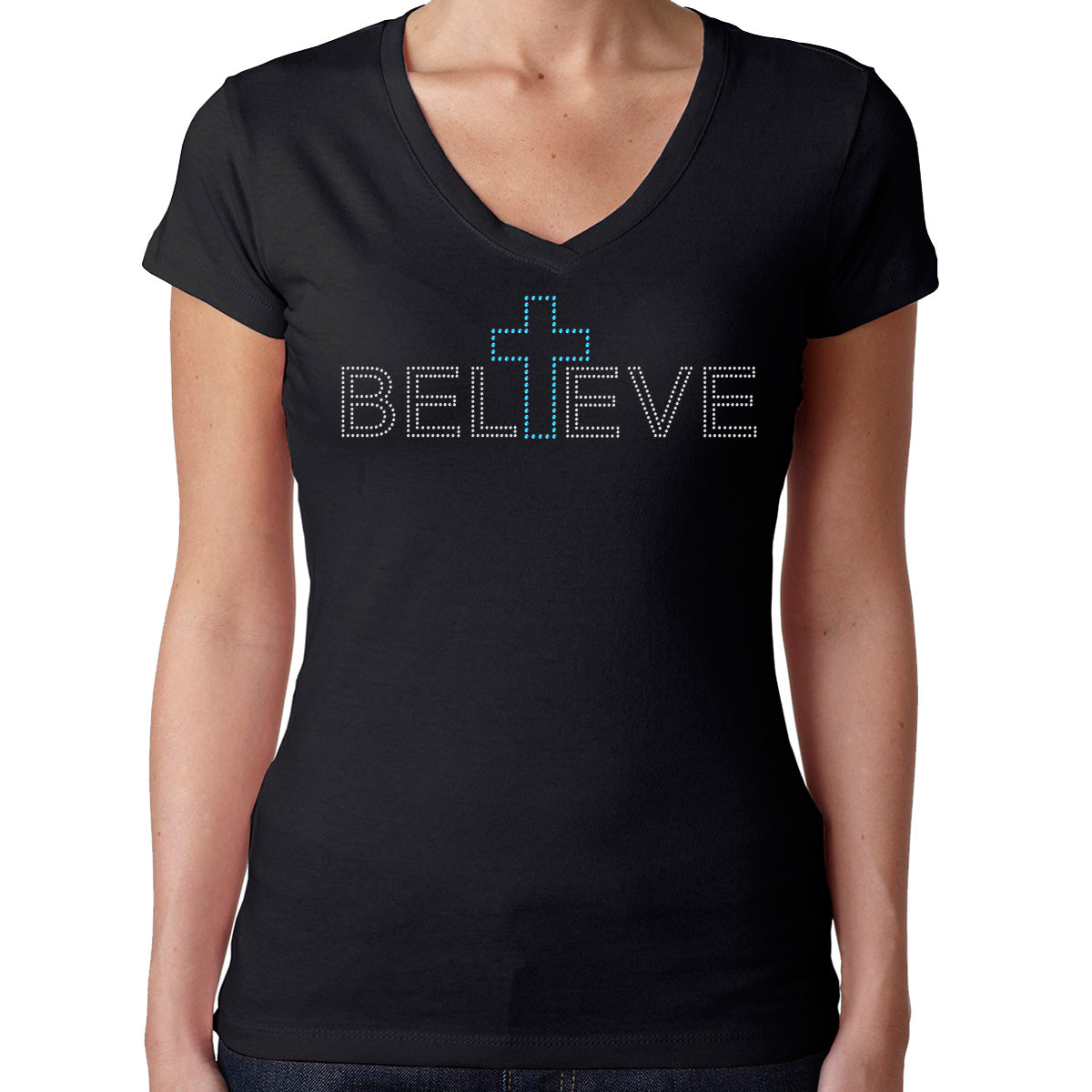Womens T-Shirt Rhinestone Bling Black Fitted Tee Believe Blue Cross