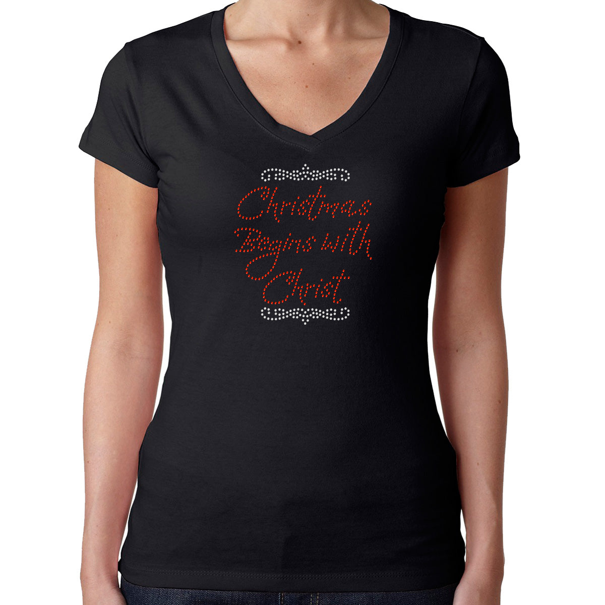 Womens T-Shirt Rhinestone Bling Black Fitted Tee Christmas Begins with Christ
