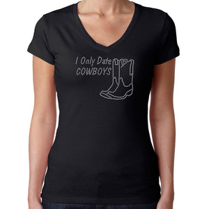 Womens T-Shirt Rhinestone Bling Black Fitted Tee I Only Date Cowboys Boots
