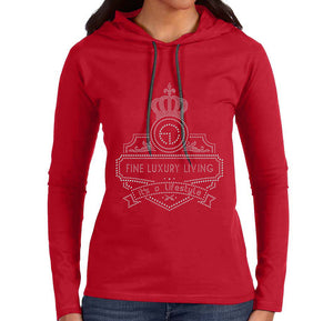 Fine Luxury Living Anvil Womens 887L Red Hoodie - Black Diamond Rhinestones (Queen)