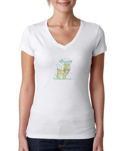 Womens T-Shirt Christmas Reindeer 1 Xmas White 1056