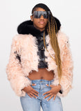 Ladies Mongolian Fur Crop Jacket with Hood Style #1042