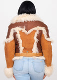Ladies Mongolian Fur Racing Jacket Style #1012