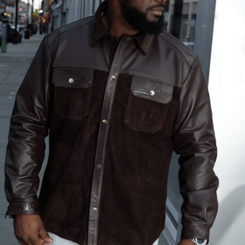 Genuine Lambskin Leather Shirt With Partial Suede With Alligator Detailing