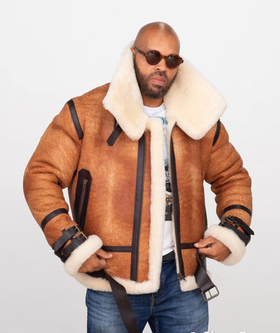 Sheepskin Bomber Jacket with Leather Trimming Style #8404