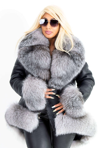 Ladies 3/4 length sheepskin jacket with fox fur trimming Style #1016