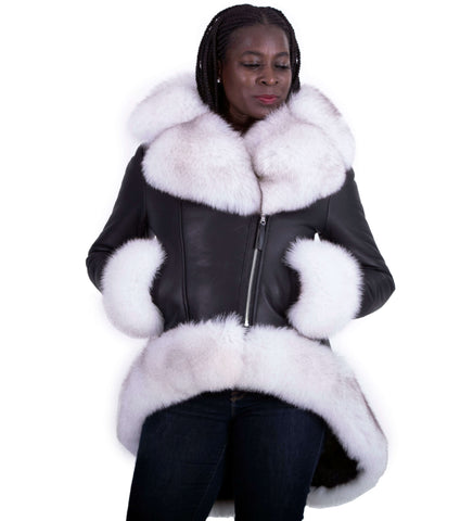 Ladies high-low length jacket.  Fox fur collar, cuffs and bottom Style #1006