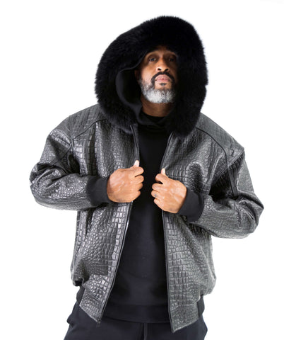 Embossed Leather Bomber Jacket with fox fur trimmed hood Style #2266H