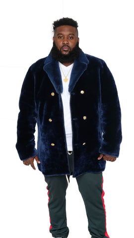 Men's Sheepskin Mouton Coat Jacket with Mink Fur Collar Style #0440