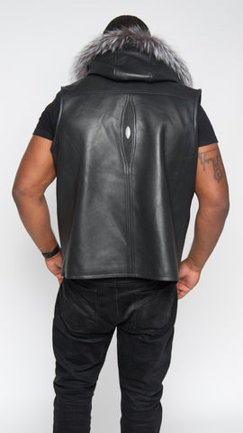 Black Lightweight Lambskin Stingray Vest With Silver Fox Hood Style #910H - Jakewood Shearlin Leather Mouton Fur Bomber Aviator Parka Coat Jacket Sheepskin All size Brooklyn New York manufacturer