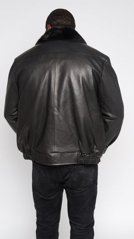 Leather jacket with row stone stingray and mink collar Style #2012