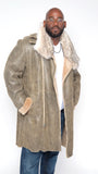 Sheepskin Trench Coat With Fur Collar Style #4410 - Jakewood Shearlin Leather Mouton Fur Bomber Aviator Parka Coat Jacket Sheepskin All size Brooklyn New York manufacturer