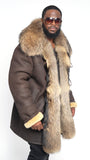 Sheepskin Jacket Coyote Fur Collar And Front Trimming Style #777 - Jakewood Shearlin Leather Mouton Fur Bomber Aviator Parka Coat Jacket Sheepskin All size Brooklyn New York manufacturer