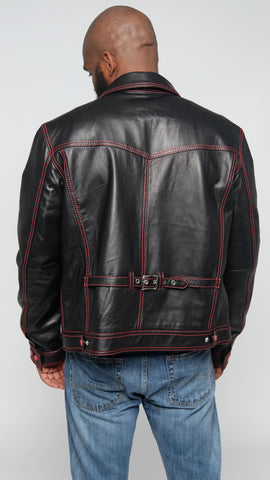 Denim Style Leather Jacket Style Black with Red Threading#3600