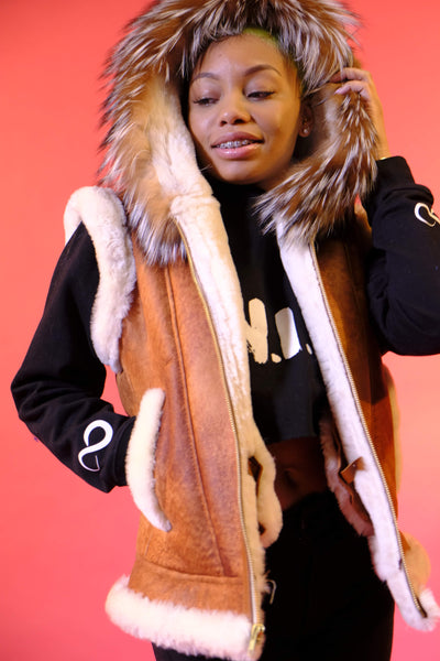 Women's Sheepskin Vest with Fur Style #1037