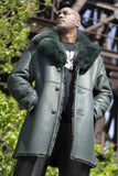 Warm Winter Green Sheepskin Shearling Trench Coat With Fox Fur Collar Style #7400