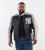 Men's Leather Jacket with Python Trimming and Custom Yankees Python Logo