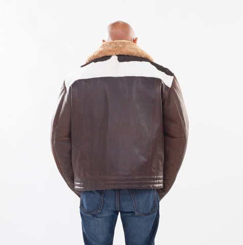 Men's Pony Leather Jacket with Sheepskin Sleeve and Collar Style #1850