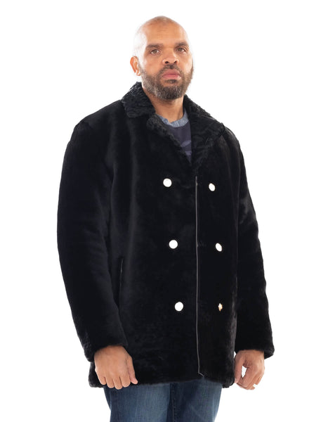 Sheepskin Mouton Coat Jacket with Persian Lamb Collar
