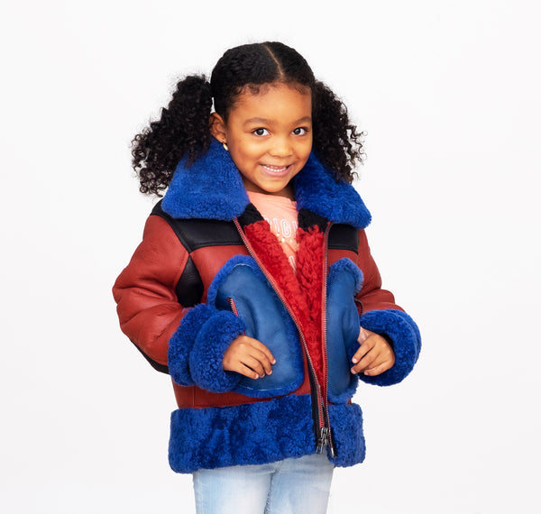 Sheepskin Unisex Kids Bomber Jacket Multi Color Style # New York