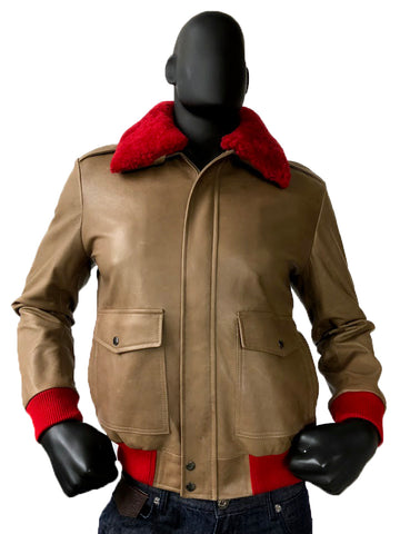 A-2 Lambskin Leather Bomber Jacket With Red Sheepskin Removable Collar Style #2800 - Jakewood Shearlin Leather Mouton Fur Bomber Aviator Parka Coat Jacket Sheepskin All size Brooklyn New York manufacturer