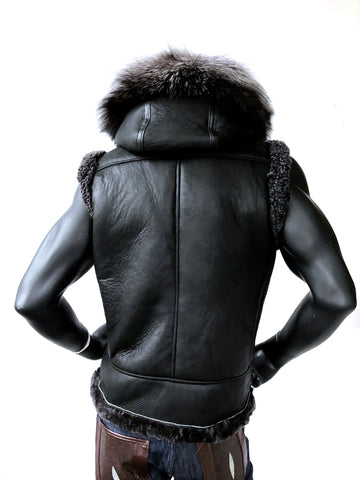 Sheepskin Vest With Silver Fox Fur Hood Style #5650 - Jakewood Shearlin Leather Mouton Fur Bomber Aviator Parka Coat Jacket Sheepskin All size Brooklyn New York manufacturer