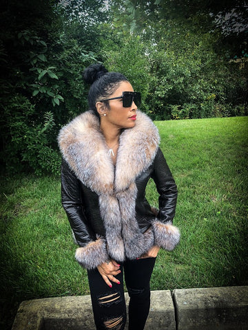 Woman's Leather Jacket With Crystal Fox Fur Trimming Style #1036