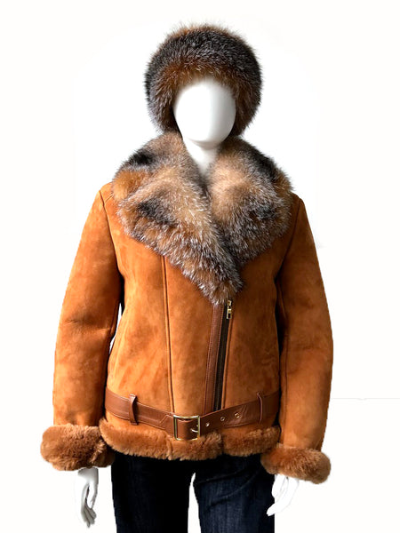 Women's Belted Motorcycle Racing Jacket With Fox Fur Collar Style #1020