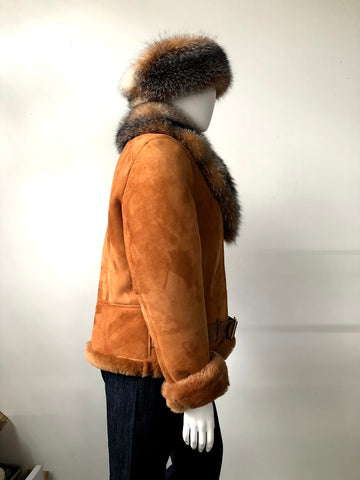 Woman's Belted Motorcycle Racing Jacket With Fox Fur Collar Style #1020