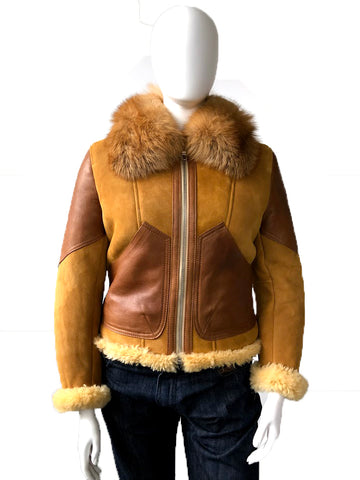 Women's Sheepskin Jacket With Fur Collar & Leather Trim Style #1047