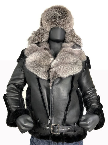 Sheepskin Jacket with Fur collar Style #1320 - Jakewood Shearlin Leather Mouton Fur Bomber Aviator Parka Coat Jacket Sheepskin All size Brooklyn New York manufacturer