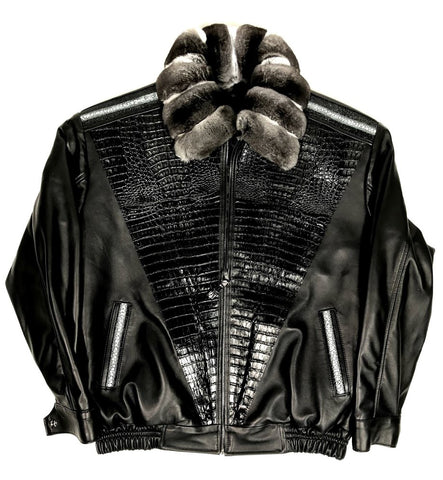 Black Lambskin Jacket With Chinchilla Collar & Alligator/Stingray Trimming Style #2075 - Jakewood Shearlin Leather Mouton Fur Bomber Aviator Parka Coat Jacket Sheepskin All size Brooklyn New York manufacturer