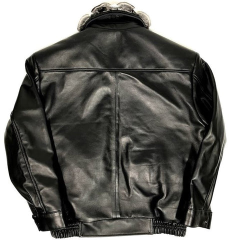 Black Lambskin Jacket With Chinchilla Collar & Alligator/Stingray Trimming Style #2075