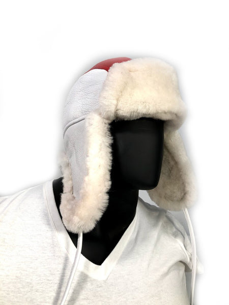 Shearling Russian Style Hat White/Red - Jakewood Shearlin Leather Mouton Fur Bomber Aviator Parka Coat Jacket Sheepskin All size Brooklyn New York manufacturer