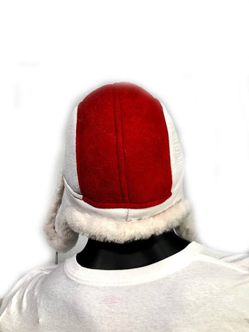 Shearling Russian Style Hat White/Red