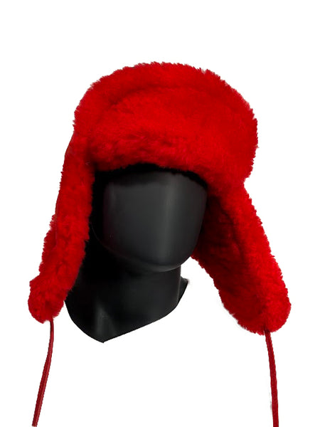 Shearling Russian Style Hat Blue/Red