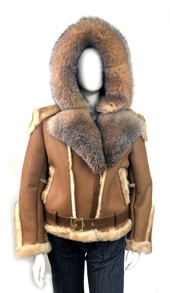 Women's Sheepskin Shearling Motorcycle Jacket & Crystal Fox Fur Style #1025