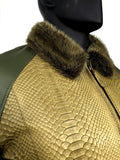 Men's Olive Green Lambskin Leather Jacket & Python Trimming With Mink Collar Style #1020-2