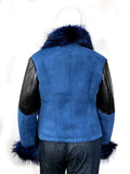 Women's Sheepskin Shearling Jacket Suede Finish With Blue Fox Fur Style #1047-1