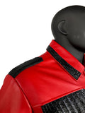 Men's Red Lambskin Leather Jacket With Stingray & Alligator Trimming Style #2055