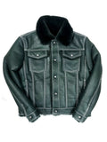 Warm Winter Denim Style Button-Up Sheepskin Jacket Style #3610