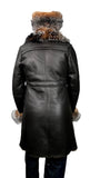 Women's Single-Breasted Sheepskin Trench Coat With Fox Fur Collar #0105