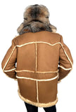 Men's Sheepskin Shearling Toggled Coat With Crystal Fox Collar Style #4950