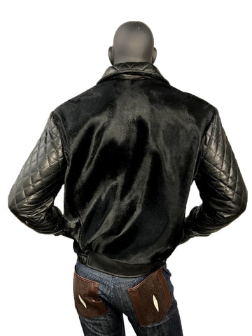 Men's Pony Bomber Jacket With Lambskin Quilted Sleeves & Collar Style #3450
