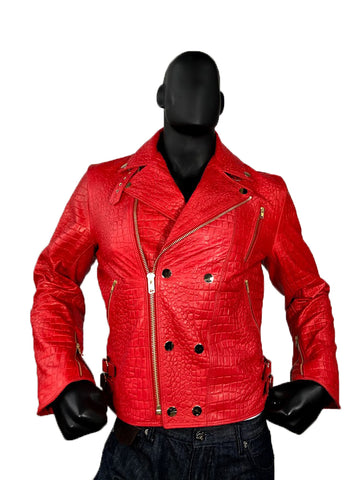 Men's Lambskin Leather Embossed Motorcycle Jacket, Double Breasted Style #3008
