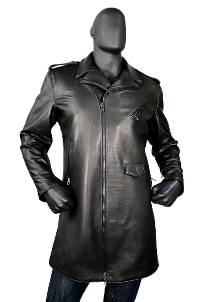 Men's Motorcycle Lambskin Leather Zippered Racing Long Coat Style #3040