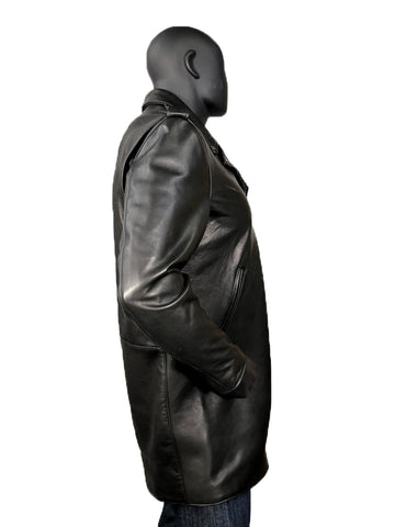 Men's Motorcycle Lambskin Leather Zippered Racing Long Coat Style #3033