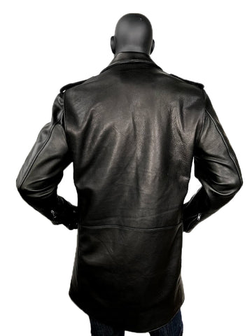 Men's Motorcycle Leather Zippered Racing Long Coat Style #3033