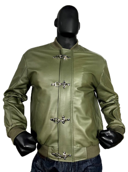 Men's Olive Green Lightweight Baseball Varsity Jacket Fire-Hook Closure Style #3444