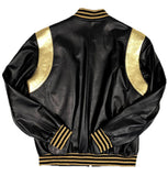 Men's Black/Gold Lightweight Varsity Baseball Jacket Style #1015